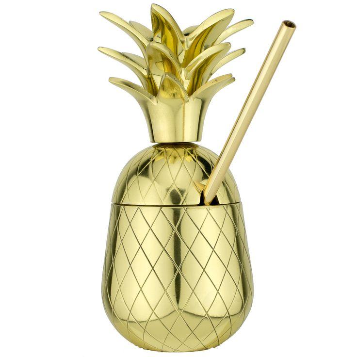 The Royal Hawaiian Pineapple Tumbler ~ Gold 9 Ounce