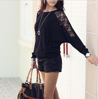 Women's Batwing Top with Lace