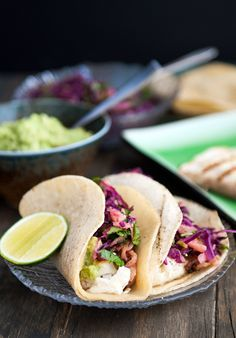 Tequila-Lime Halibut Tacos with Red Cabbage Slaw