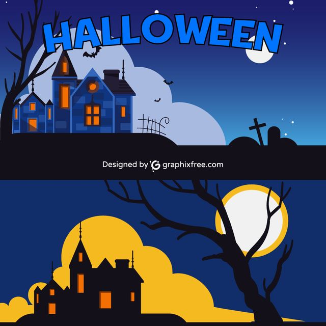 Halloween Castle Cemetery - #moon #halloween #background #tree #party #house #sky #grunge #silhouette #celebration #cross #holiday #night #fall #horror #bat #evil #scary #grave #terror