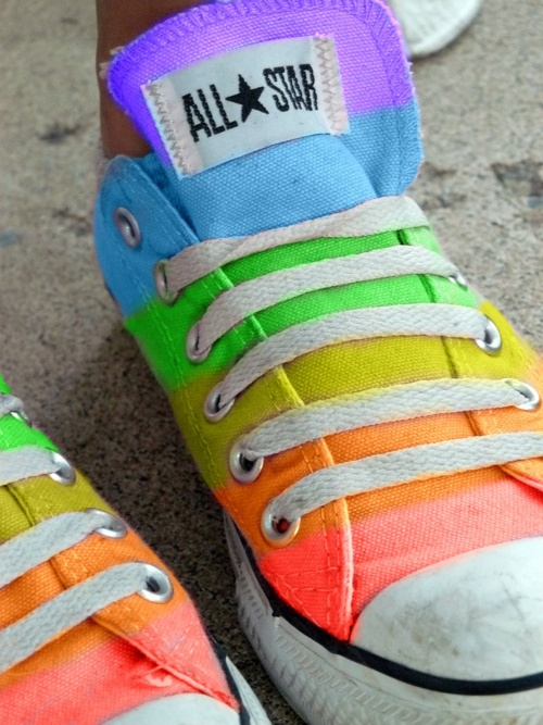 rainbow stripe sneakers--give them here give them here now and i mean now there are amazing. I love shoes like this.