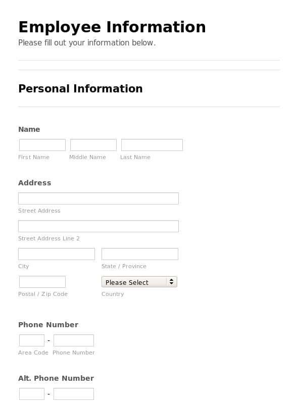 5 Employee Emergency Contact Forms Emergency Contact Form