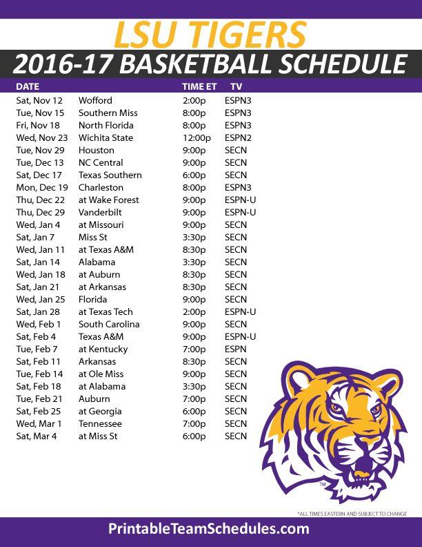 LSU Tigers Basketball Schedule 2016-17. Print Here - http://printableteamschedules.com/NCAA/lsutigersbasketball.php