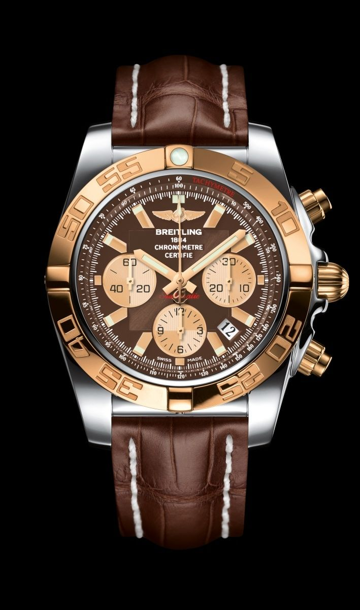 Chronomat 44 diver's watch by Breitling - Steel and 18K rose gold case, Metallica brown dial, brown croco strap.