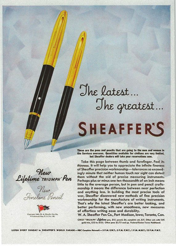 Advert for Sheaffer's Lifetime Triumph Pen