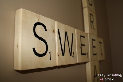 DIY giant Scrabble tiles. These look fun:)