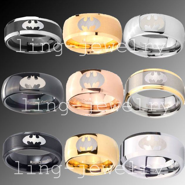 bat+man++wedding+rings | 8mm Tungsten Batman Wedding Band Ring Size N Z 1 2 | eBay