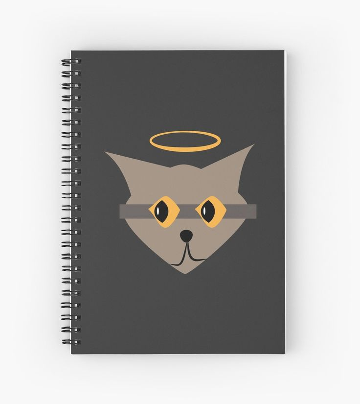 Lil angels, cute grey cat with halo and big yellow eyes spiral notebook. • Also buy this artwork on stationery, apparel, stickers, and more.
