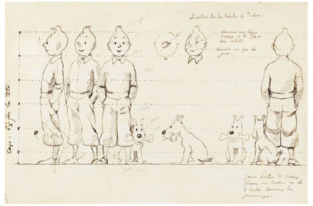Hergé's hand drawing to help with the creation of the first Tintin product – a little toy statuette – which required to see Tintin from all sides