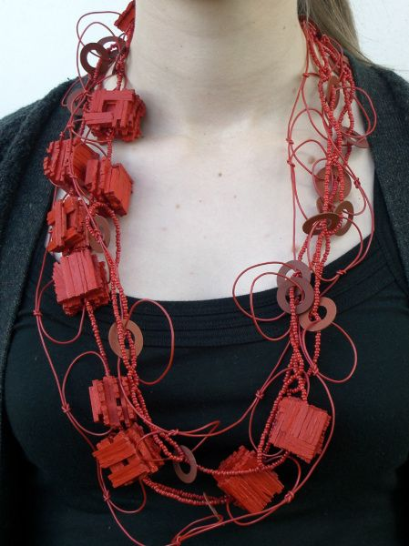 """Kate Barton - """"something else"""" - Morse encoded necklace, wood, paint, glass beads, electrical wire, paper, nylon monofiliament, 2006"""