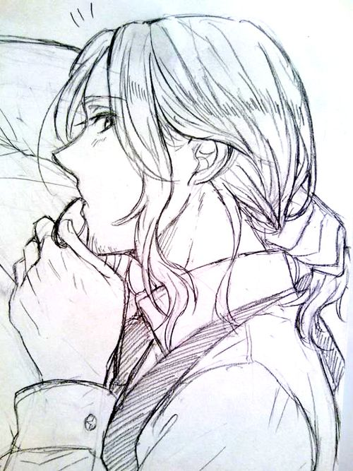 Francis tying back his hair - Art by とくこ on Pixiv, found via losthitsu.tumblr.com Am I the only one who finds ponytail France very, very sexy?!