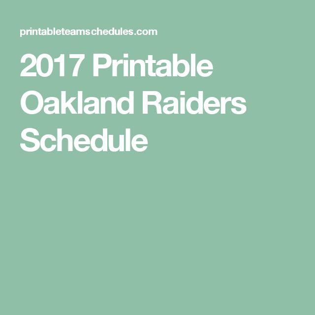 2017 Printable Oakland Raiders Schedule