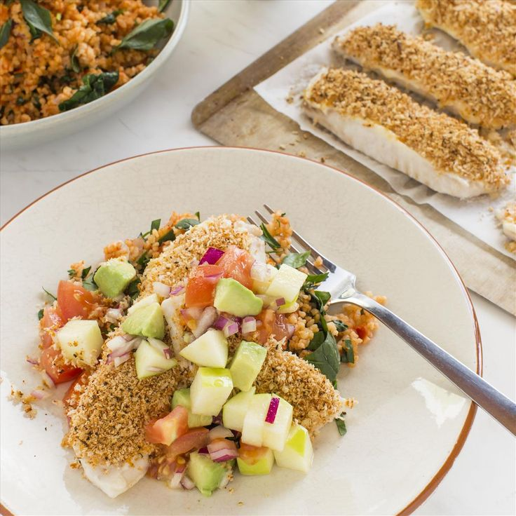 Spiced-Crusted Fish with Savoury Tomato Bulgur and Avocado Apple Salsa
