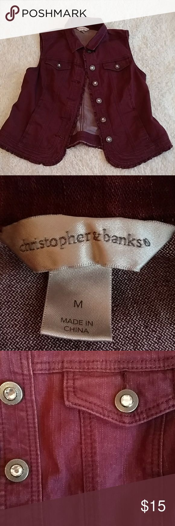 Christopher & Banks Maroon Sleeveless Jean Jacket Red Maroon cut off shoulder rippled jean jacket. Christopher & Banks, size M. Gemmed buttons. 4 pockets (2 regular and 1 on each chest). Chic and edgy. Durable materials. Christopher & Banks Jackets & Coats Vests