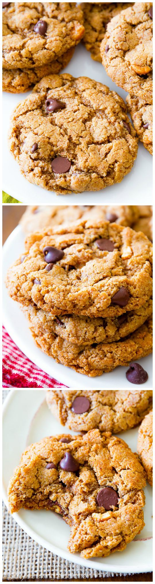 These Flourless Almond Butter Chocolate Chip Cookies are so delicious, you won't miss the butter and flour!