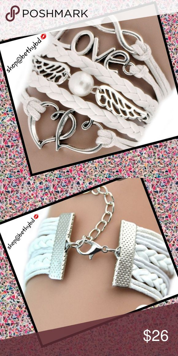 🆕Love Infinity and Pearl Accent Leather Bracelet NEW ARRIVAL White wrap leather bracelet with sturdy back clasp as shown in pics Leather bracelet Love wording, Infinity sign, pearl accent in angels wings  On trend Jewelry Bracelets