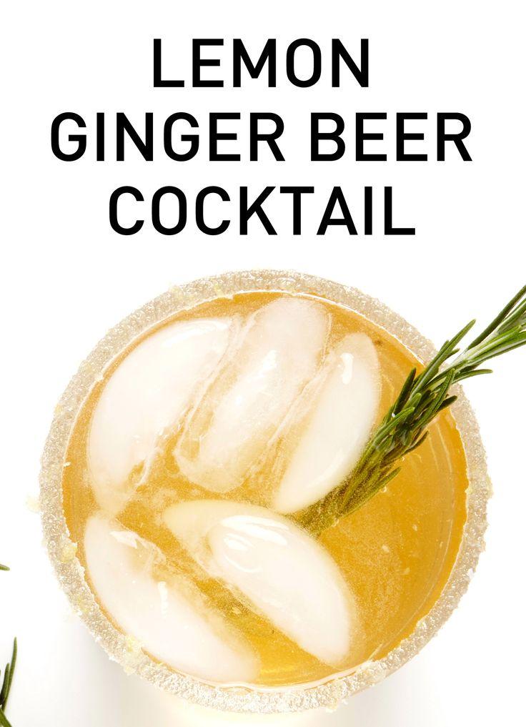 Lemon Ginger Beer Cocktail recipe #BiteMeMore #drinks
