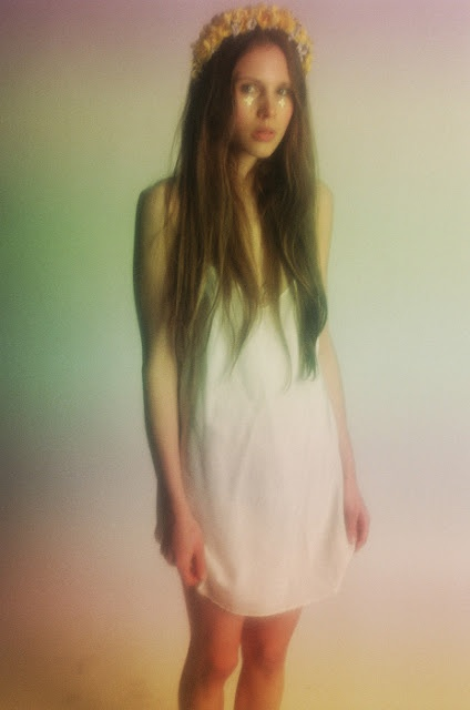 rainbow edit, flowers in the hair, stars under the eyes: Face, Fashion, Dress Contemporary, Contemporary Nightgown, Flowers, Hair, Eye