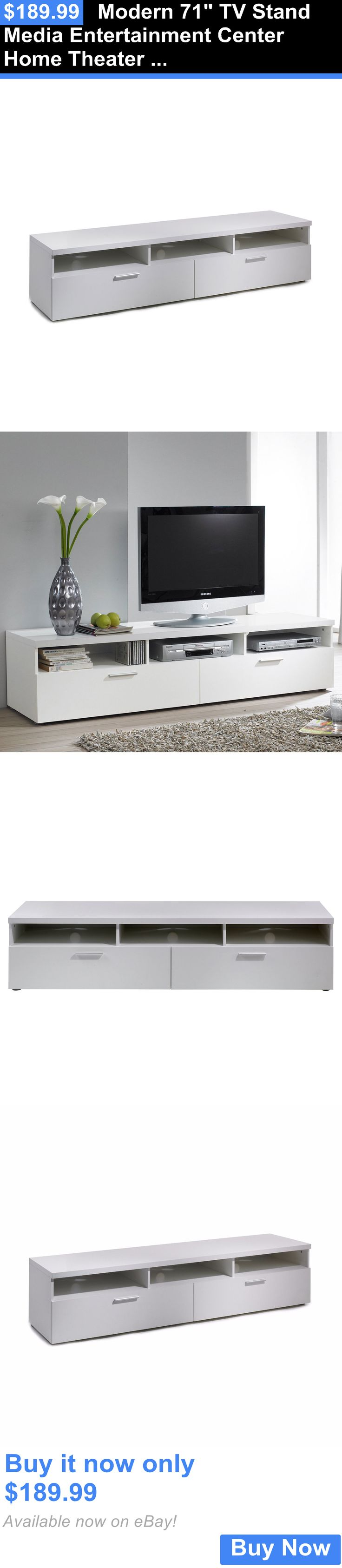 Entertainment Units TV Stands: Modern 71 Tv Stand Media Entertainment Center Home Theater Wood Console, White BUY IT NOW ONLY: $189.99