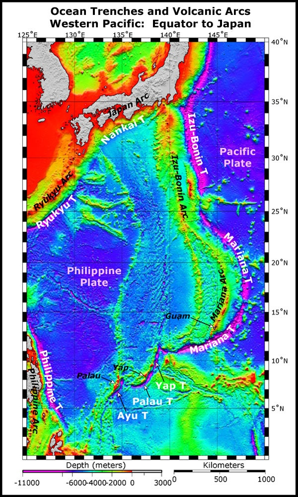 This image presents satellite altimetry data of the western Pacific from the equator to Japan. Submarine trenches are indicated with white text over magenta; volcanic arcs are indicated by italicized text. In the western Pacific, the volcanic arcs (island and submarine) are west of the trenches, due to the western migration and subduction of the Pacific plate under the Philippine plate. Volcanic arcs form when the subducting plate melts at depth and magma (fluid that cools to form igneous…