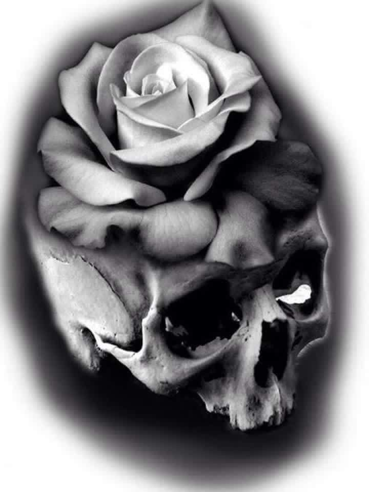 Tatuaz Roza Czaszka Czaszka Róże Tattoos Tattoo