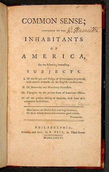 """""""Pamphlets such as Tom Paine's had an intentionally short fuse. Common Sense says little that's new about natural rights or government. But what was innovative was the popular rhetorical strategy Paine used to convey those ideas."""" --Russ Castronovo, author of Propaganda 1776  (Cover of Common Sense, the pamphlet. Public domain via Wikimedia Commons.) #FourthofJuly"""