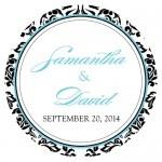Wedding Stickers - Wedding Labels - Love Bird Damask Sticker Labels - LARGE - (15 Colors)