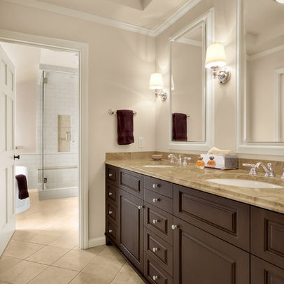 bath softer tan + brown cabinets design ideas, pictures