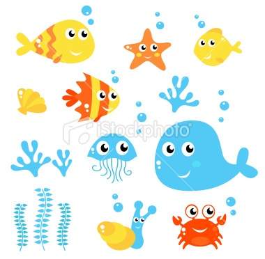 Marine Life - Sea and fishes collection isolated on white Royalty Free Stock Vector Art Illustration