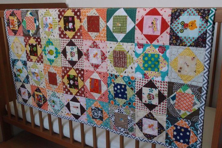 Baby quilt - patchwork - economy blocks  www.vjahodovce.blogspot.com