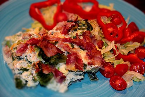 Ugnsomelett med broccoli och bacon - Kryddburken