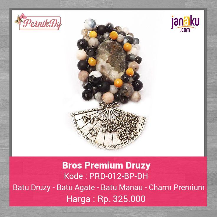 Bros Premium Druzy Hitam -  Pernikdy -  IDR 325.000 - Batu Druzy Pilihan dirangkai dengan batu agate dan batu manau dipercantik dengan charm premium