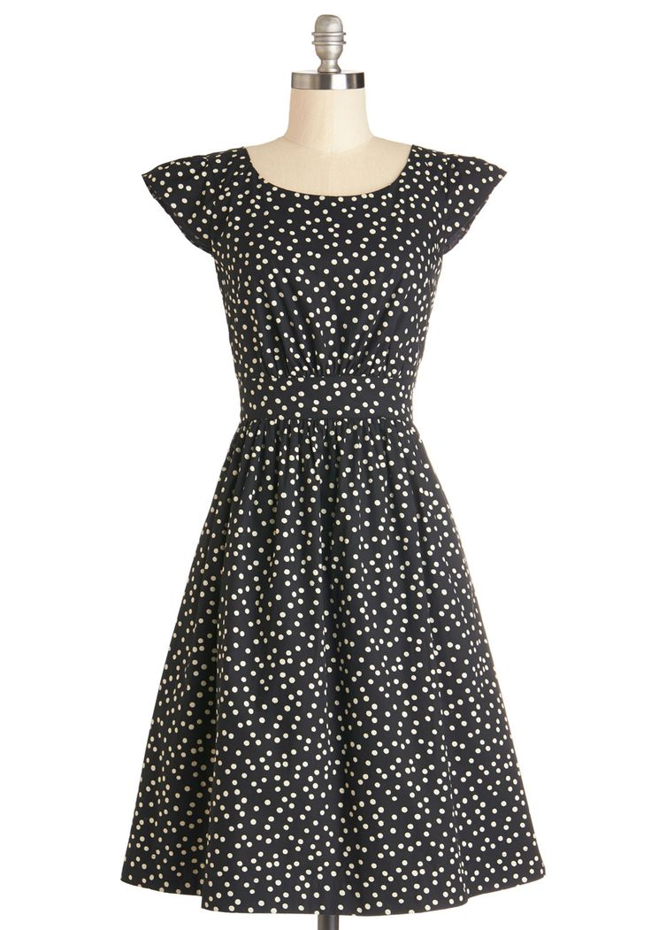 Get What You Dessert Dress in Dots. Reward yourself for being so sweet and sincere by sitting down to a delicious homemade cupcake in this wonderful black dress by Emily and Fin. #black #modcloth