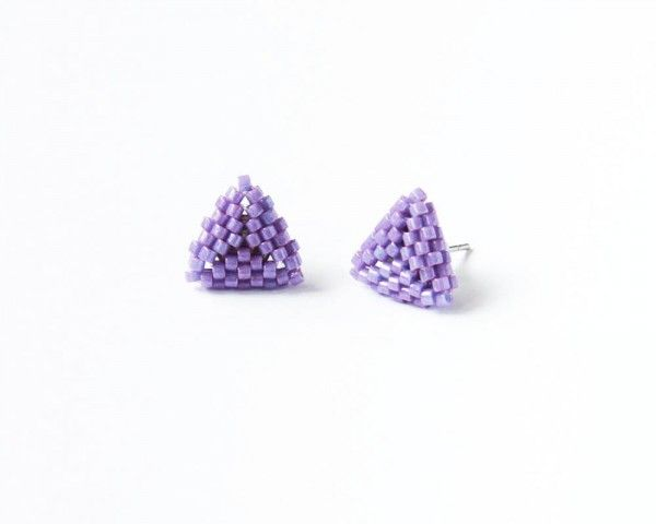 Lavender beaded triangle stud earrings