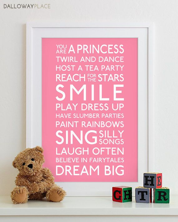 Baby Girl Art Print Girl Nursery Art Playroom by DallowayPlace, $23.00 Like the words without the statement about being a princess