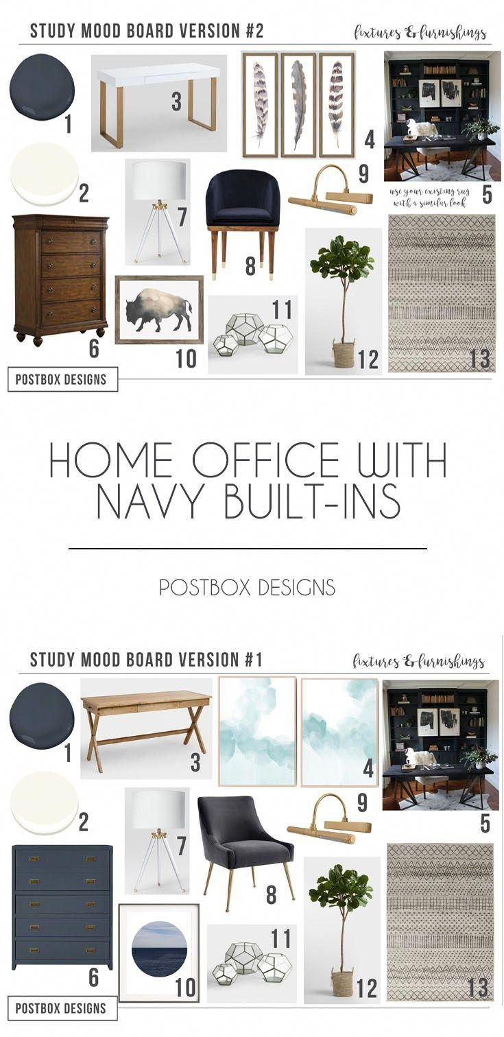 Postbox Designs Interior E Design Home Office With Navy Shelves Study Decor