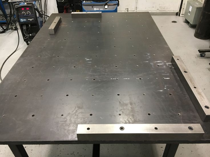 """4'x6', 1"""" thick top with 6"""" on center alternating threaded and dowel pin hole pattern, 2"""" solid square bar stock"""