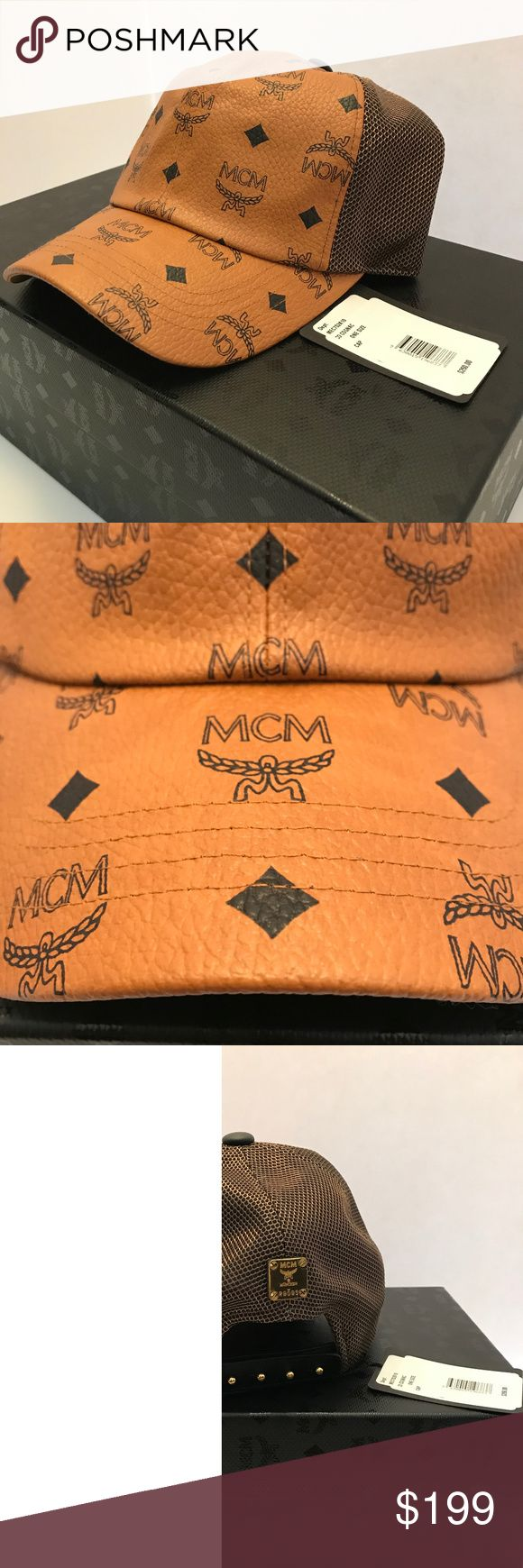 Mcm visetos cognac mesh snap baseball cap MCM VISETOS MESH CANVAS COATED HAT  ONE SIZE FITS ALL  COMES IN ORIGINAL, BAG WITH HANG TAGS/AUTHENTICITY CARD  100% AUTHENTIC MCM Accessories Hats
