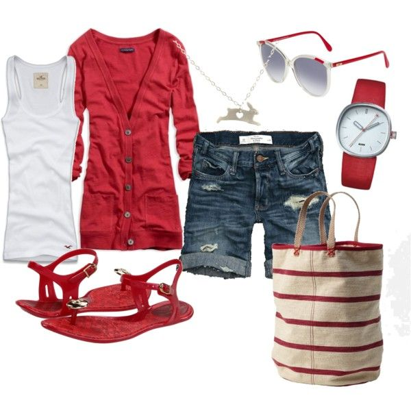 Cute for the Fourth.: Fashion, Red, Summer Outfit, Style, Shorts, 4Th Of July, Spring Summe, Sweets Summertime, Hot Summer