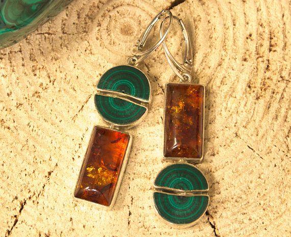Amber & Malachite Earrings / Asymmetrical amber earrings