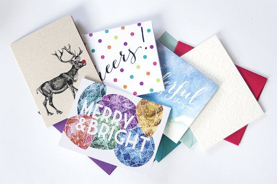 5Pack Holiday Greeting Cards by DanielleSayer on Etsy, $15.00