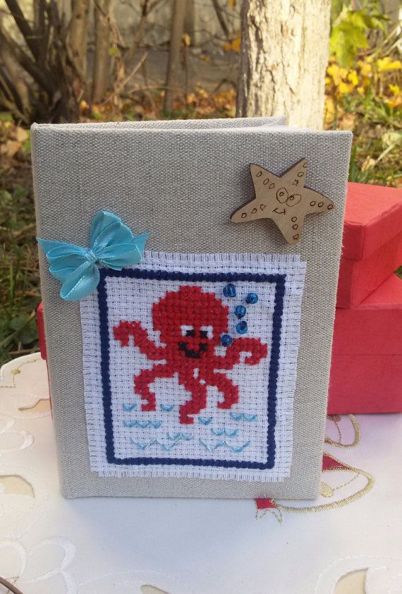 Journal with octopus fabric covered notebook by Rocreanique on Etsy