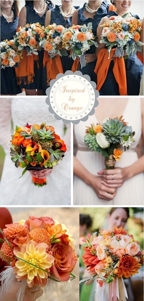 Inspired by Autumn Orange: Wedding Bouquets