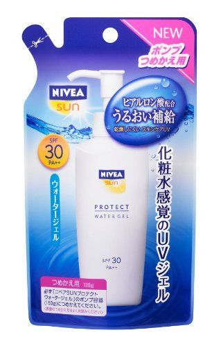 NIVEA SUN Protect Water Gel SPF30 | UV Protection | 130g Refill for Pump Dispenser (Japan Import) by NIVEA. $20.63. | IMPORTANT NOTICE | Made for Japan market and in a Japanese retail package. Manual(s) is in Japanese only.. NIVEA SUN Protect Water Gel SPF30 | UV Protection | 130g Refill for Pump Dispenser (Japan Import)