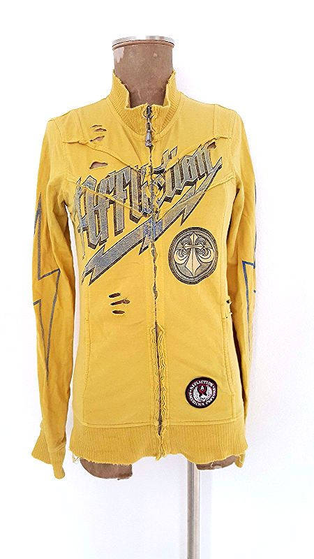 Affliction Sweatshirt Size Medium Holes BOHO Cotton Yellow Womens Zip Up  #AfflictionAmericanCustoms #SweatshirtCrew