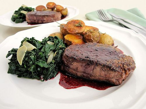 Pan-Seared Filet Mignon with Red-Wine Sauce, Rosemary-Roasted Potatoes ...