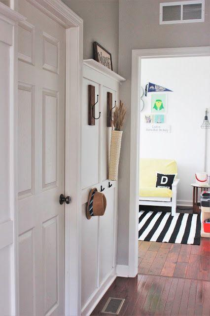 Foyer Hallway Zones : Board and batten coat rack is done entryway drop zone