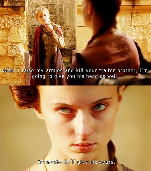 One of the extremely rare powerful moments by Sansa.