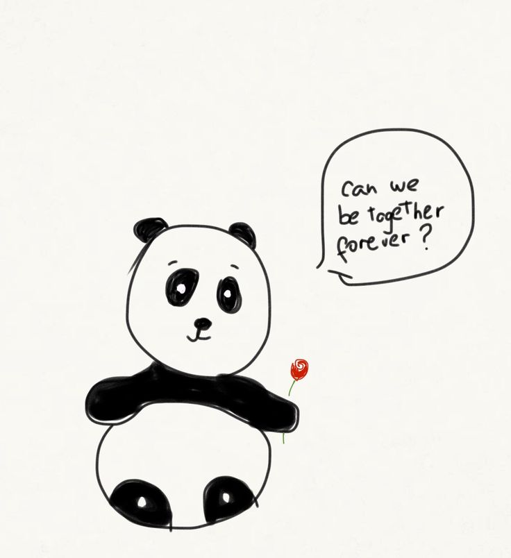 Can we be together forever panda drawing