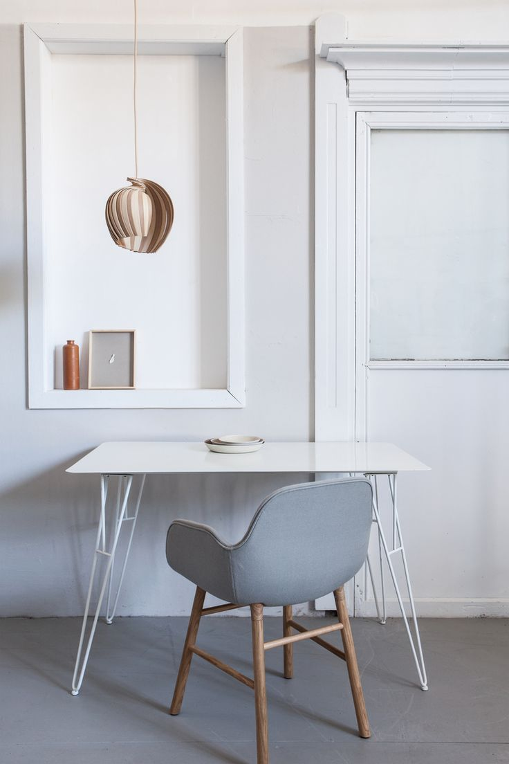 White minimal workspace with beautiful 25Lamp Striped in FSC Certified Oak + Ash by Kovac Family. Swedish design. Styling by wijzijnkees.nl. Locally produced lamp. Handmade of sustainable materials. Home office in neutral colours, trendy grey chair.